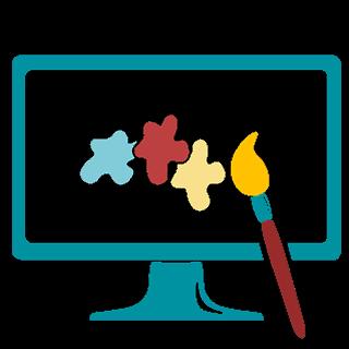 Icon Bildschirm Pinsel und Farbklekse