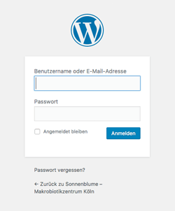 Screenshot WordPress Dashboard Login Screen