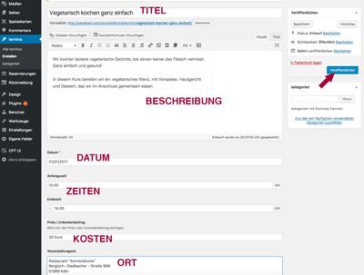 Screenshot Termin erstellen und veröffentlichen